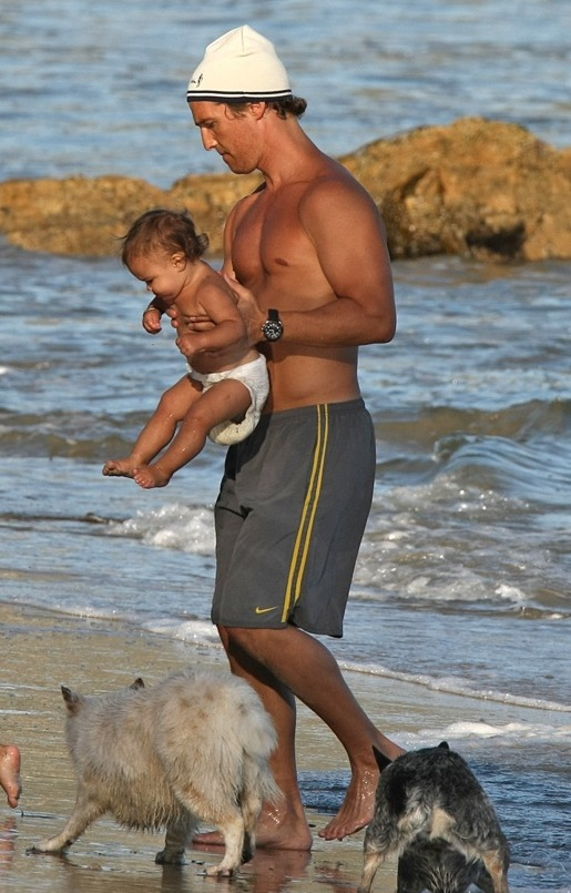 Matthew McConaughey out on the beach with kids in Malibu, California